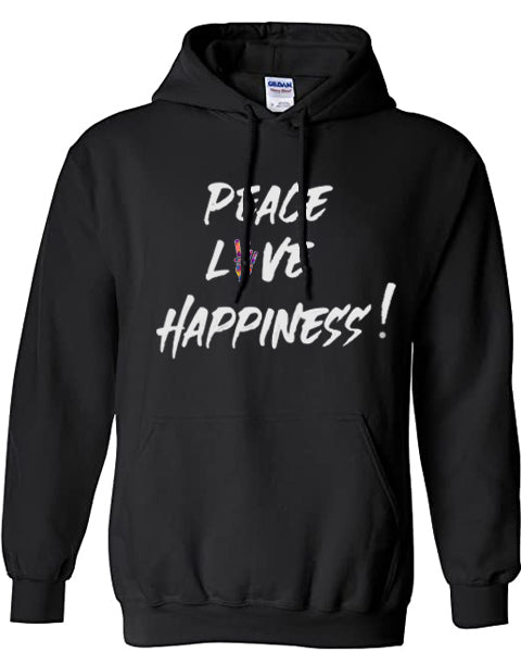 PEACE,LOVE AND HAPPINESS JEANTRIX COTTON HOODIE