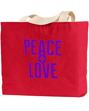 PEACE and LOVE COTTON CANVAS TOTE