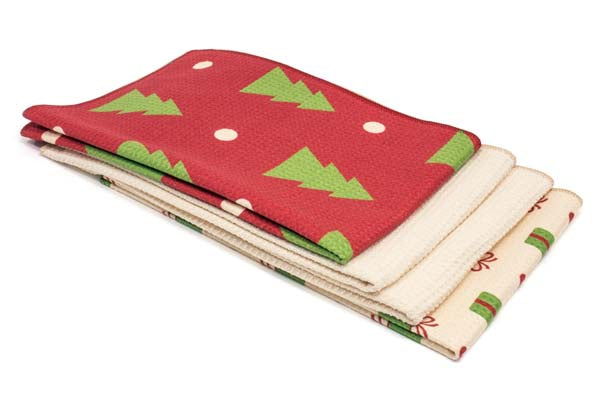 Decorated Microfiber Kitchen Dish & Hand Towel 4 Pack (400 gsm, 16 in. x 24 in.)