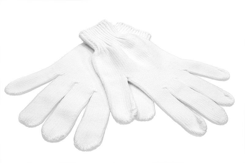 Microfiber Five Finger White Glove (single)