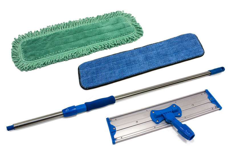 18'' Commercial Mop Kit - with Stainless Steel Pole, Microfiber Wet Mop and Dust Mop Pads