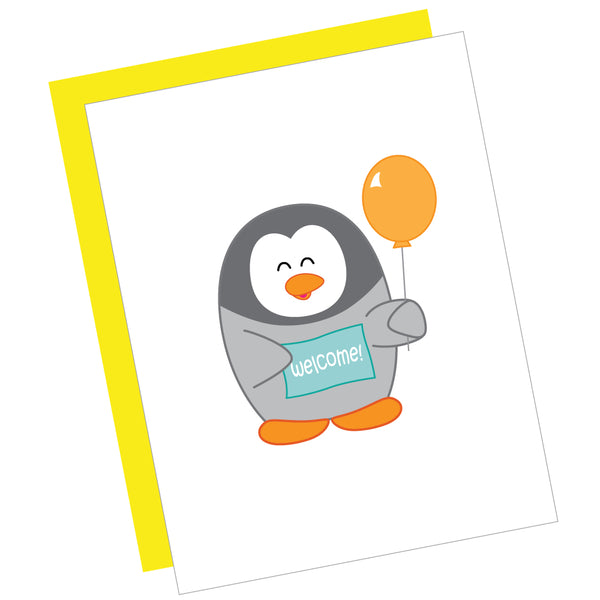 Welcome Baby Penguin Greeting Card