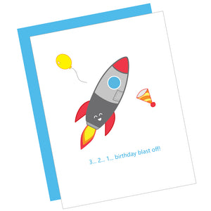 3...2...1...Birthday Blast Off! Greeting Card