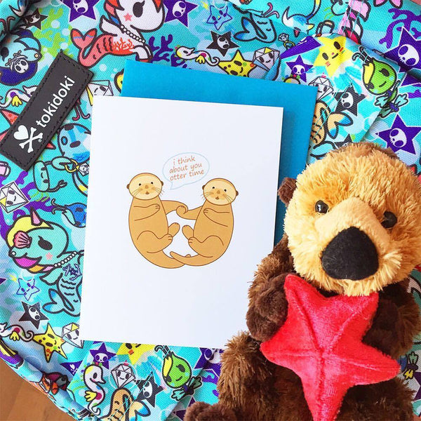 I Think About You Otter Time Greeting Card