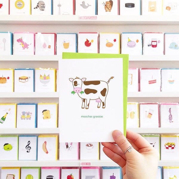 Moochas Grassias Greeting Card