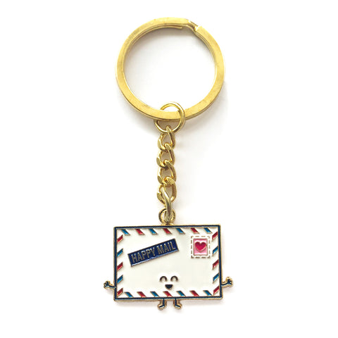 Happy Mail Enamel Keychain