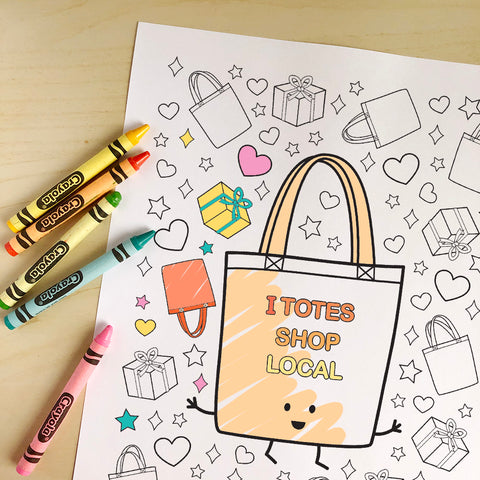 I Totes Shop Local Printable Colouring Sheet