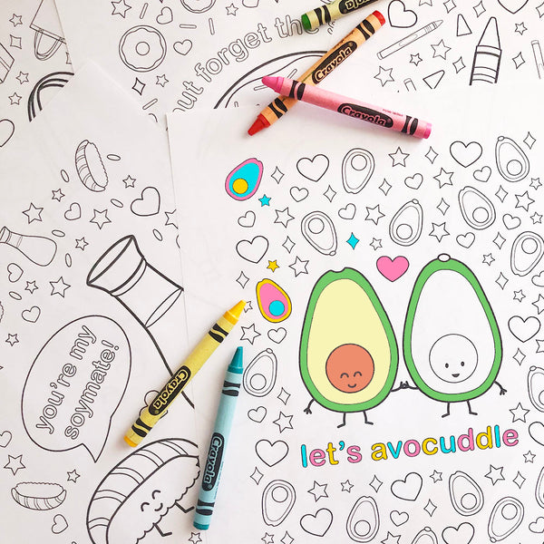 Let's Avocuddle Printable Colouring Sheet