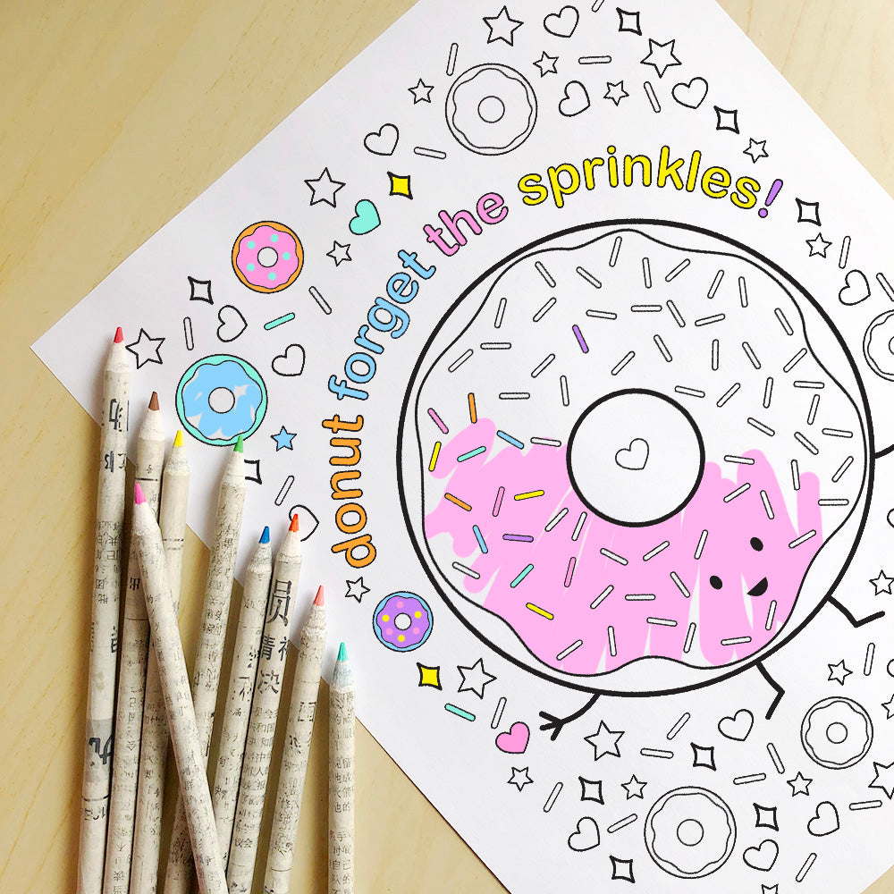 Donut Forget the Sprinkles! Printable Colouring Sheet