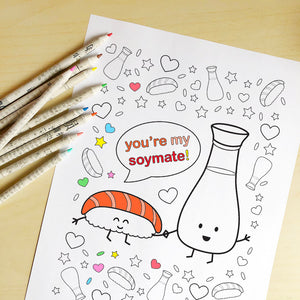 You're My Soymate! Printable Colouring Sheet