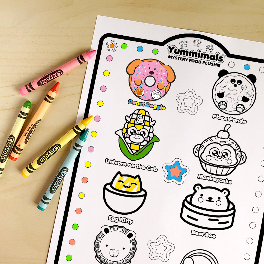 Yummimals Printable Colouring Sheet