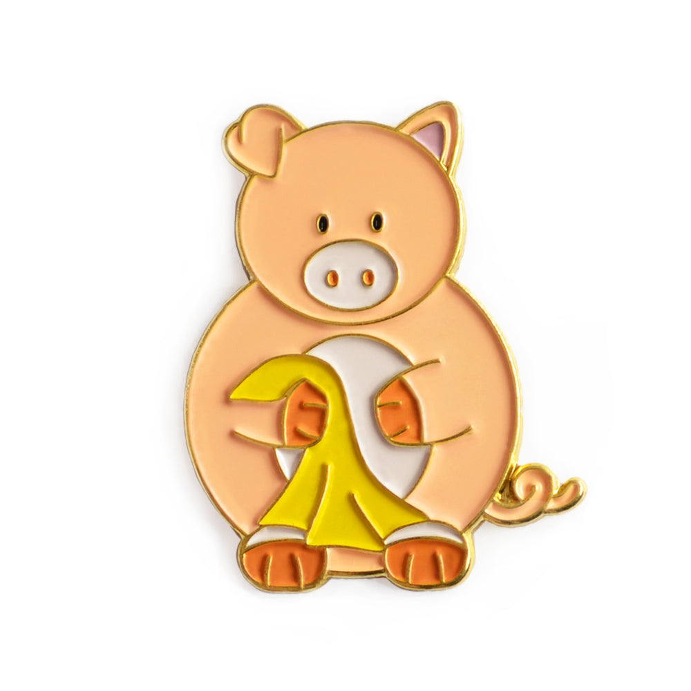 Pig and a Blanket Enamel Pin