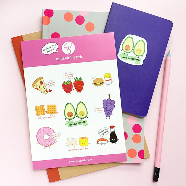 Punny Food Sticker Sheet (Set of 2)