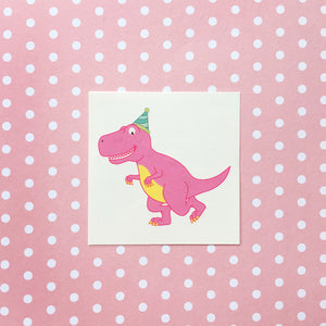 Pink T-Rex Dinosaur Tattoo (Set of 2)