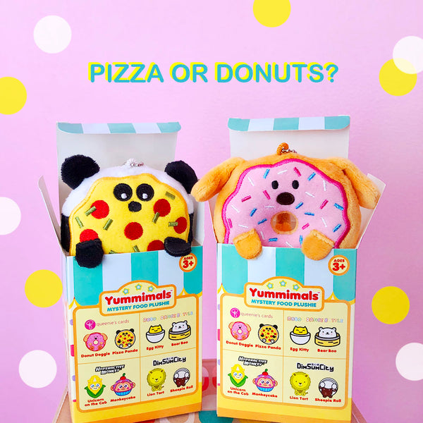 Yummimals Mystery Food Plushies - Opened Blind Boxes (Donut or Pizza)