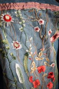 Floral Fantasy Gypsy Jacket with embroidered tulle and taffeta ribbon trim
