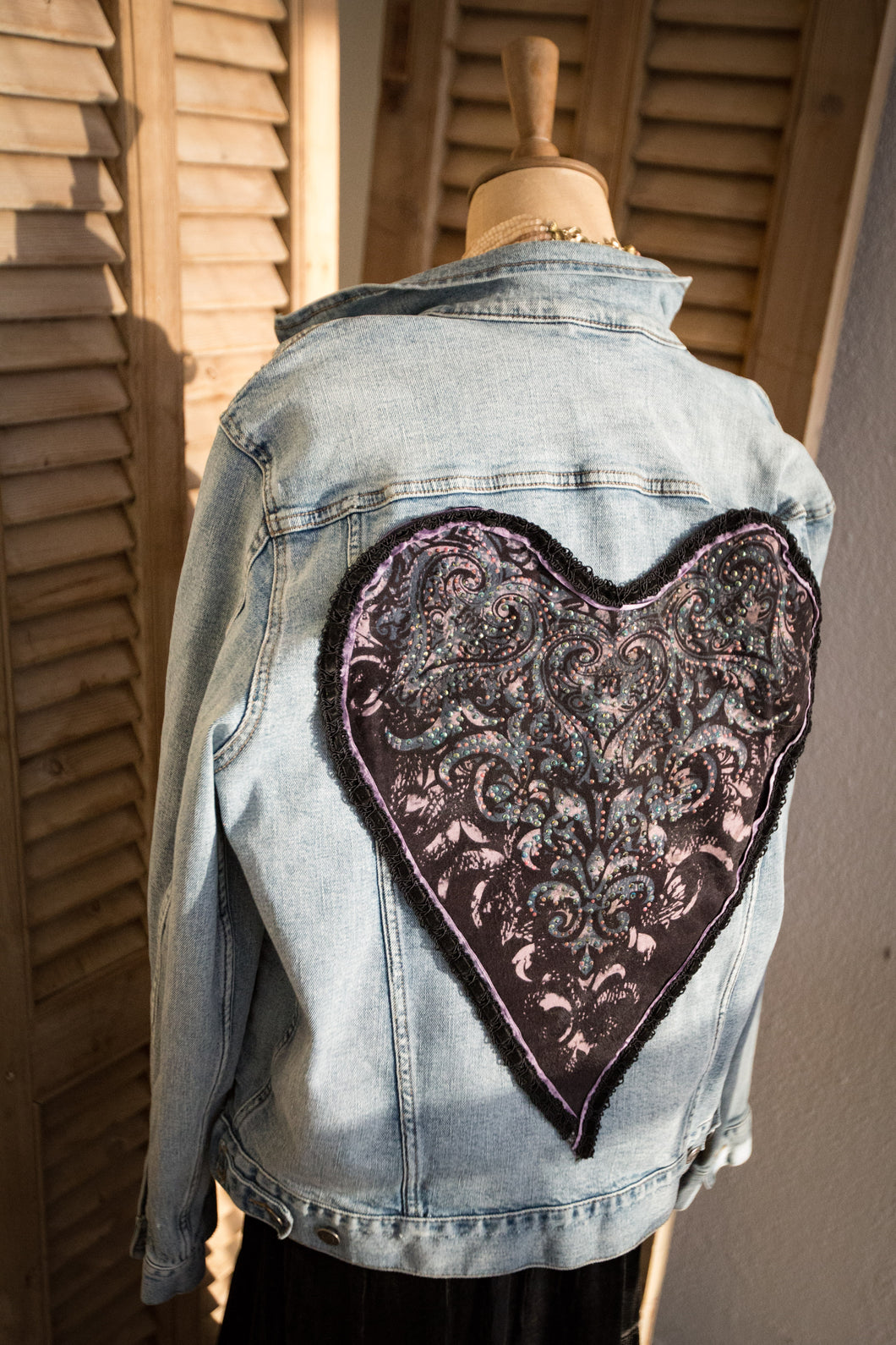 Sparkly Scrolls Heart jeans jacket embellished with rhinestones and velvet ribbon trim