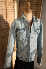 Load image into Gallery viewer, Sparkly Scrolls Heart jeans jacket embellished with rhinestones and velvet ribbon trim