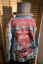 Load image into Gallery viewer, Sombrero Sam Sugar Skull Gypsy Jacket with Leather Fringe and Vintage Indian Sari trim