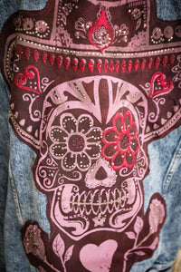 Sombrero Sam Sugar Skull Gypsy Jacket with Leather Fringe and Vintage Indian Sari trim