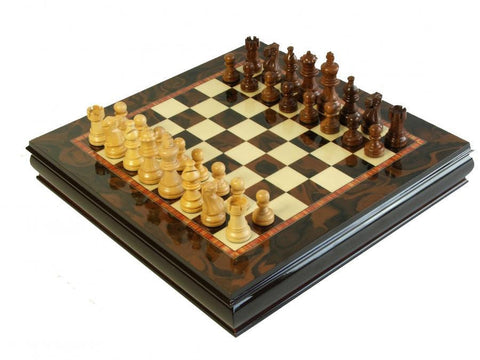 Italian 15 Inch Walnut Cabinet & Rosewood Chessmen - Luxury Games - 1