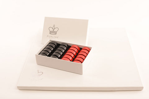 Purling of London Classic Red & Shadow Black Draughts Set - Luxury Games - 1
