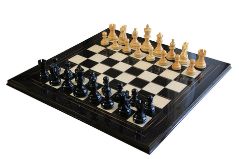 Lacquered Classic Atlantic Black and Natural Makassar Chess Set
