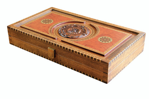 Walnut Lotus Backgammon Set - Luxury Games - 1