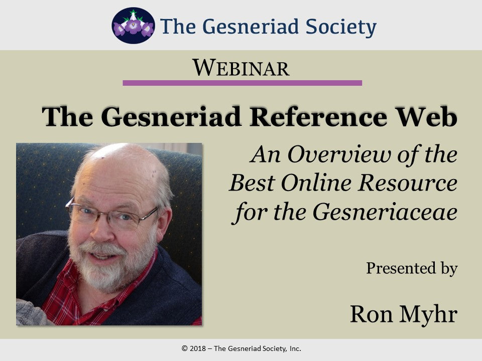 Webinar: The Gesneriad Reference Web (Free Download)