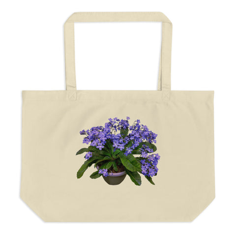 Tote Bag with one side printed Streptocarpus 'Falling Stars'