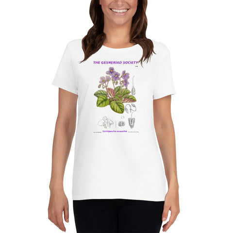 Women's T-shirt with printed Saintpaulia ionantha