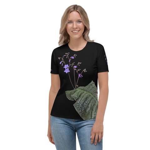 Women's  All over print T-shirt with Streptocarpus porphyrostachys