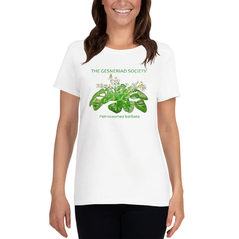 Women's T-shirt with printed Petrocosmea barbata