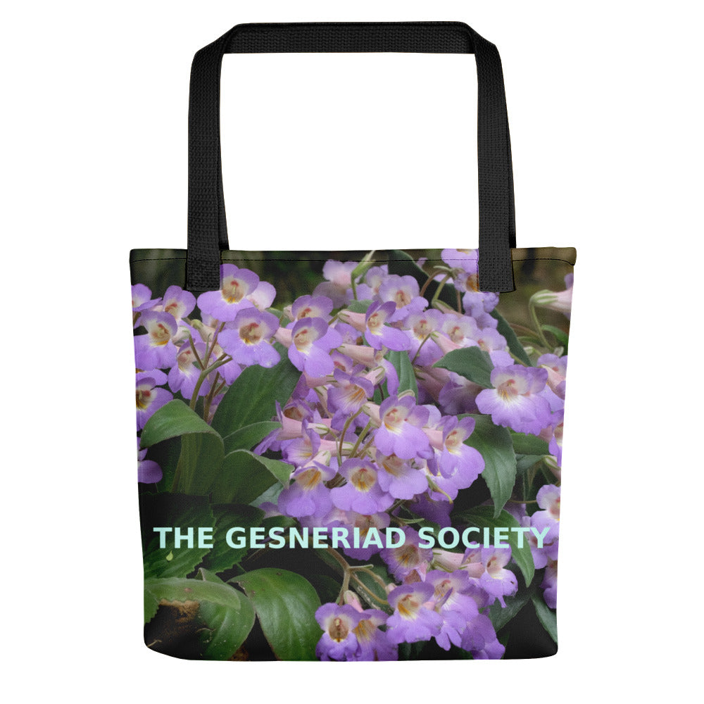 Tote bag with printed Primulina guilinensis (purple) photographed by Fang Wen
