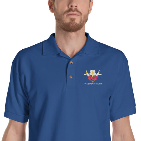 Embroidered Polo Shirt with Sinningia helleri