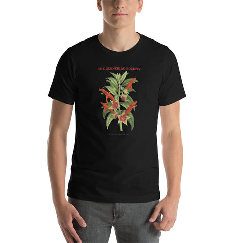 Short-Sleeve Unisex T-Shirt with printed Columnea erythrophaea