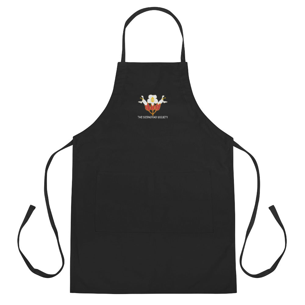 Embroidered Apron with Sinningia helleri