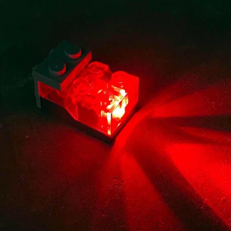 LEGO Trans-Red Top Red LED Glow Electric Light Brick 2 x 3 x 1 1/3 Genuine Part - Bricks & Figures
