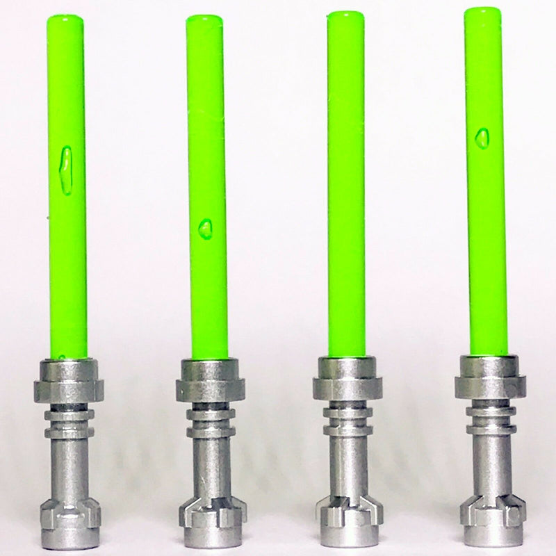 4 x STAR WARS lego TRANSLUCENT BRIGHT GREEN LIGHTSABERS jedi sith WEAPONS new - Bricks & Figures