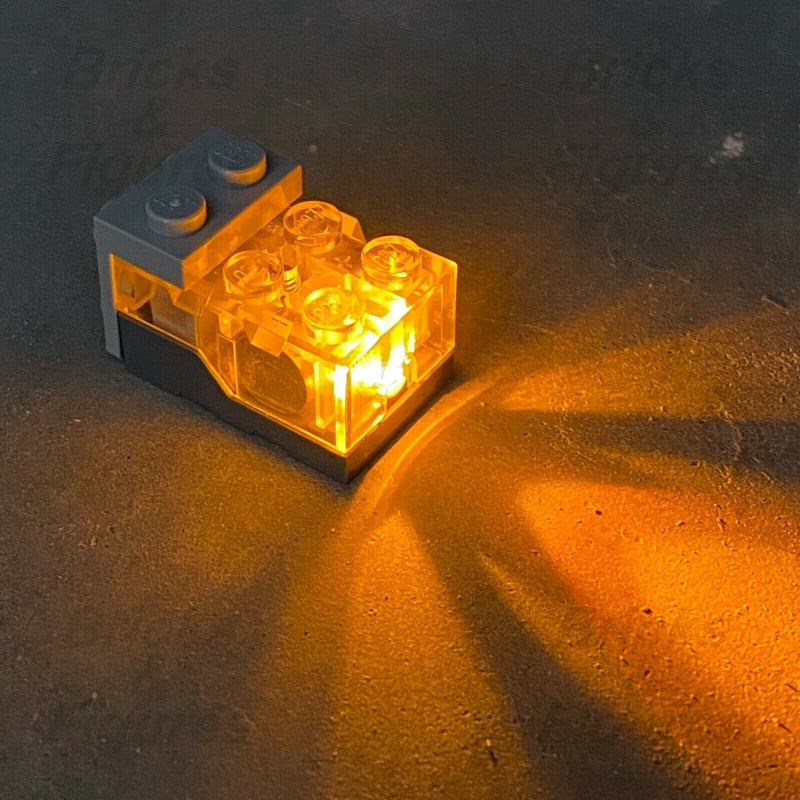 LEGO Clear Top Orange LED Glow Electric Light Brick 2 x 3 x 1 1/3 Genuine Part - Bricks & Figures