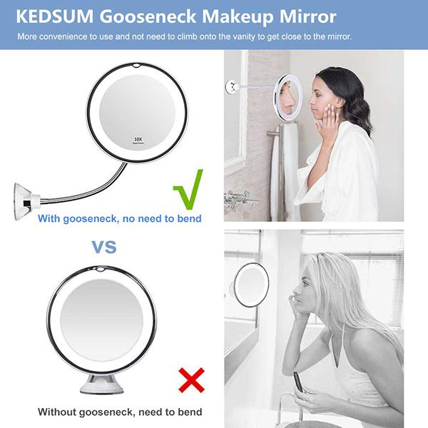 Lighted LED Magnifying Mirror - Flip2Lux