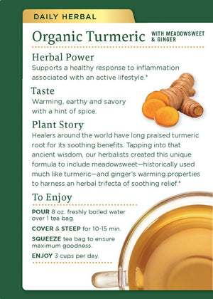 Traditional Medicinals Turmeric with Meadowsweet and Ginger, Herbal Tea, Organic, 16 CT
