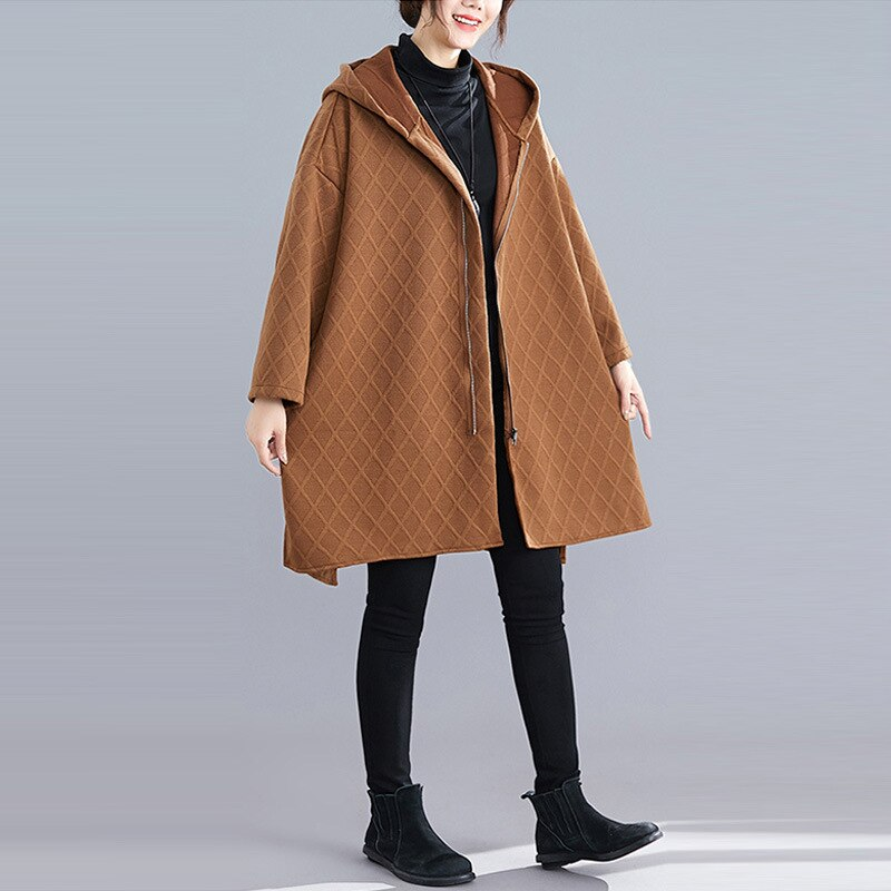 Plaid Black Women Trenches Hooded Long Sleeve Pocket Oversize Loose Warm Coats Female Fashion New Clothes 2020