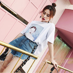 CHICEVER Denim Short Jeans Female High Waist Patchwork Ribbons Ripped Streetwear Shorts Women 2020 Summer Fashion Tide