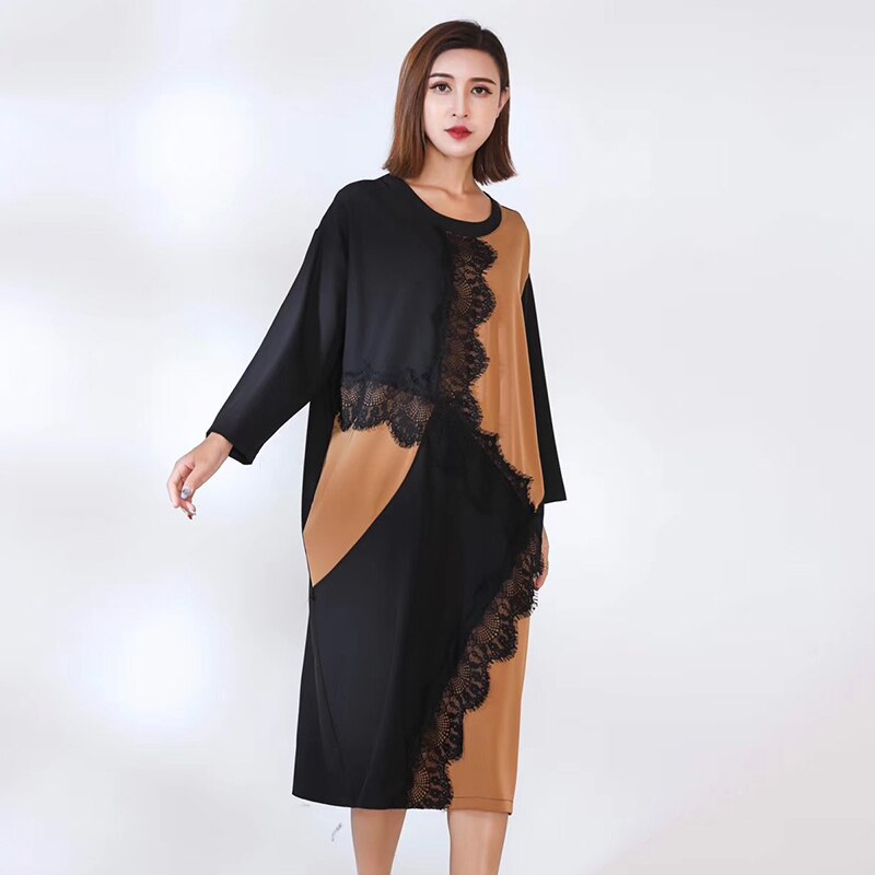 CHICEVER Patchwork Lace Women's Dress O Neck Long Sleeve Hit Color Loose Oversize Casual Midi Dress Female Fashion Clothes 2020