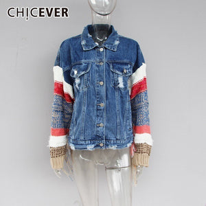 CHICEVER Patchwork Tassel Denim Jacket For Women Lapel Knitting Long Sleeve Hit Color Female Jackets Autumn Casual Clothing 2020