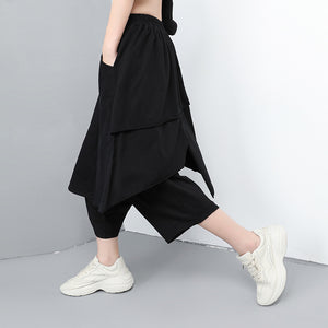 CHICEVER Spring Black Women Fake Two Pieces Pant Elastic Waist Loose Plus Size Ankle-length Female Cross-pants 2020 Fashion New