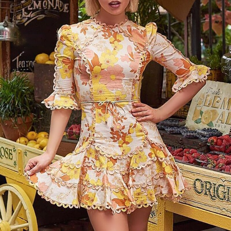 CHICEVER Summer Print Mini Dress Female O Neck Half Flare Sleeve High Waist Bow Pleated Dresses For Women 2020 Fashion New