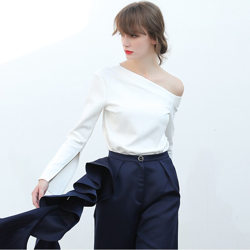 CHICEVER Sexy Off Shoulder Female T shirts For Women Top Flare Sleeve Split Slash neck Autumn Tshirt Clothes Fashion 2020 New