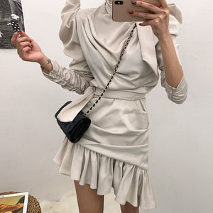 CHICEVER Summer Elegant Solid Dress For Women Asymmetrical Neck Puff Sleeve High Waist Bandage Bow Draped Mini The Dresses 2020